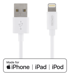 iPad, iPhone och iPod laddarkabel Lightning 2m